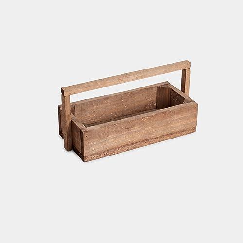 caja, cajón de madera de pino natural con asa en envejecido ideal para decoración 35x15x17