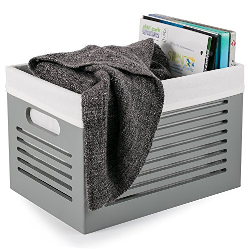 Wooden Storage Box - Decorative Closet, Cabinet and Shelf Basket Organizers Lined With Machine Washable Soft Linen Fabric - Gray, Medium - By Creative Scents - Medium Wood Box