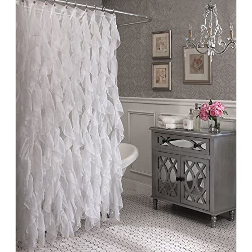 Cascade Shabby Chic Ruffled Sheer Shower Curtain White