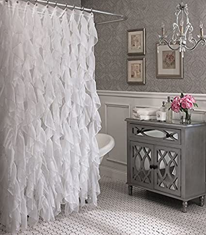 Amazon Cascade Shabby Chic Ruffled Sheer Shower Curtain White