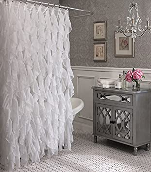 Amazon.com: Cascade Shabby Chic Ruffled Sheer Shower Curtain (Ivory): Home  U0026 Kitchen
