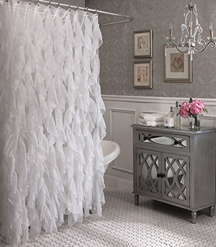 Cascade Shabby Chic Ruffled Sheer Shower Curtain (White) Lorraine Home Fashions 08777-SC