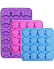 3 Pieces Silicone Molds Puppy Dog Paw & Bone Shaped, FineGood Reusable Ice Candy Trays Chocolate Cookies Baking Pans, Oven Microwave Freezer Dishwasher Safe