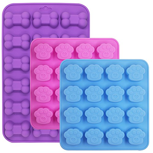 Bone Shaped Cake (3 Pcs Silicone Molds Puppy Dog Paw/Bone Shaped, 18-Cavity, 16-Cavity, FineGood Reusable Ice Candy Trays Chocolate Cookies Baking Pans, Oven Microwave Freezer Dishwasher Safe - Pink, Blue, Purple)