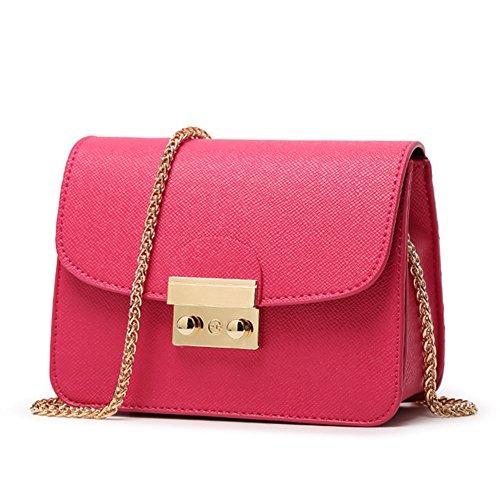 fanhappygo Fashion Retro Leder messager Taschen Kette Abendtaschen Damen Schulterbeutel Umhängetaschen Pink NDDUd4U
