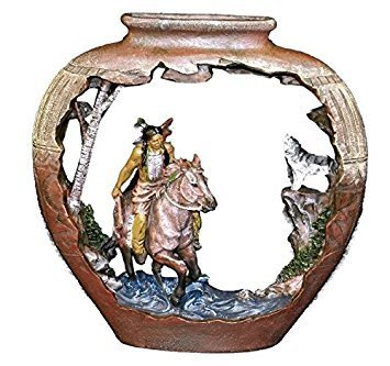 Native American Pottery - 9.5 x 9 Inch Pottery Carving Native American Horse and Wolf Figurine
