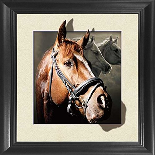 Horse Framed 18.5x18.5 5D / 3D Lenticular Picture - Unbelievable Life Like 3D Art Image, Animated Posters, Cool Art Deco, Unique Wall Art Decor, with Dozens to Choose ()