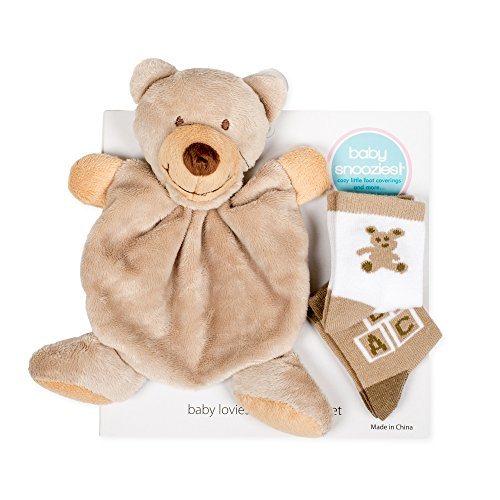 Snoozies Cozy Little Lovies Plush Satin Baby Blanket and 2 Pair Sock Gift Pack - Bear
