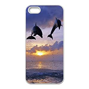 [MEIYING DIY CASE] For Apple Iphone 5 5S Cases -Dolphins and Sea Pattern-IKAI0447786