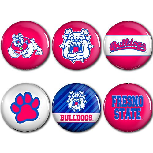 WinCraft Fresno State Bulldogs Official NCAA Metal Button Badge Pin Set 6 Pack by 989635 by WinCraft