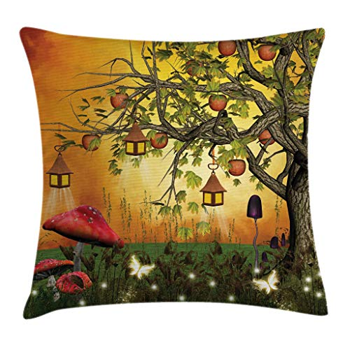 """Ambesonne Fantasy Throw Pillow Cushion Cover, Wonderland Forest with Fairies Butterflies Elves and Apple Tree Universe, Decorative Square Accent Pillow Case, 20"""" X 20"""", Orange"""