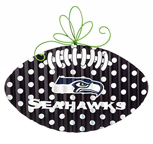 Team Sports America Seattle Seahawks Corrugated Metal Football Door Decor