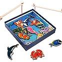 XuBa 赤ちゃん教育玩具 魚レーザー彫刻木製磁気釣り玩具セット 魚ゲーム 子供誕生日ギフト