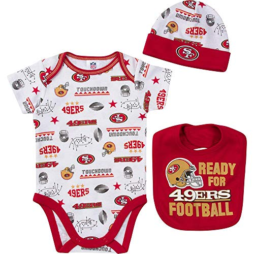 NFL San Francisco 49Ers Unisex-Baby Bodysuit, Bib & Cap Set, Red, 0-3 -