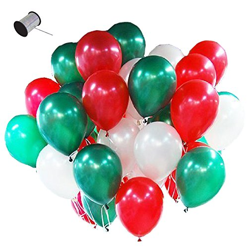 LAttLiv Party Balloons Christmas Decoration 12 inch Pearl Colour Latex Balloons 100 Packs for Kids Party Supplies Wedding Decoration Baby Shower or Birthday Decoration - (Christmas Red Green)