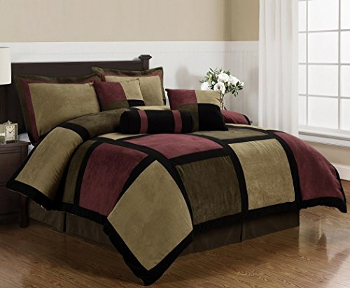 Chezmoi Collection Micro Suede Patchwork 7-Piece Comforter Set, King, Brown/Burgundy/Black (Bed King Mosaic)