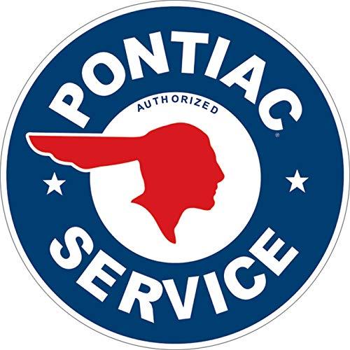 - Desperate Enterprises Pontiac Service Round Tin Sign, 11.75