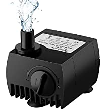Maxesla Submersible Pump 80 GPH (300L/H) Fountain Water Pump For Pond/Aquarium/Fish Tank/ Statuary/Hydroponics with 5.9ft (1.8M) Power Cord