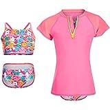 DAYU Girls Swimsuit UPF 50+ UV 3PCS Rash Guard Swimwear Sunsuits Pink