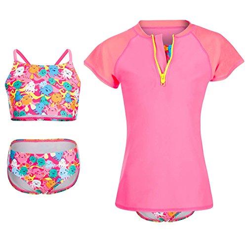 DAYU Girls Swimsuit UPF 50+ UV 3PCS Rash Guard Swimwear Sunsuits - Guard Rash Short Girls Sleeve