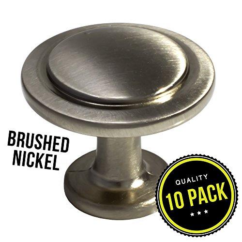 10pk Satin Nickel Cabinet Hardware Round Knob - 1-1/4