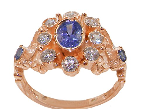 Tanzanite Diamond Cluster Ring (14k Rose Gold Natural Tanzanite and Diamond Womens Cluster Ring (0.3 cttw, H-I Color, I2-I3 Clarity))