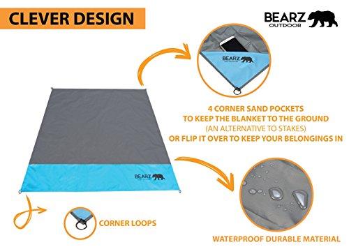 Bearz Outdoor Beach Blanket Compact Pocket Blanket 55