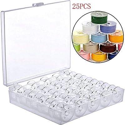 Mirrwin 25 Piezas Carrete de Coser de Plástico Transparente Vacías ...