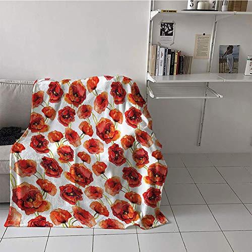 Khaki home Children's Blanket Couch All Season Blanket (60 by 80 Inch,Poppy Decor,Floral Pattern with Poppies Fabric Design Style Artwork Grassland