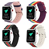 Huanlong Compatible with Apple Watch Band Series 1/2/3, Nylon with Genuine Leather Sport Replacement Strap Wrist Band with Metal Adapter Clasp for 38mm Apple Watch/Sport/Edition (4 Piece Set 38mm)