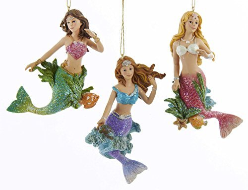 Young Glittery Mermaids Christmas Ornaments Set of 3 by Kurt Adler
