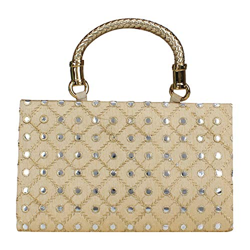 for Clutch amp; Holding Women Hand Hand Clutch Indian Girls Wedding Golden Embroidered Purse Bag 1cPUSz0q