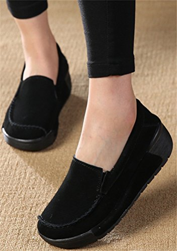 Work SHOCK High Shoes Loafer 5 ACE 4 5 Women Colors Leather Casual Heel Size Pumps Platform Black Wedges 8 FwvqWdWfp