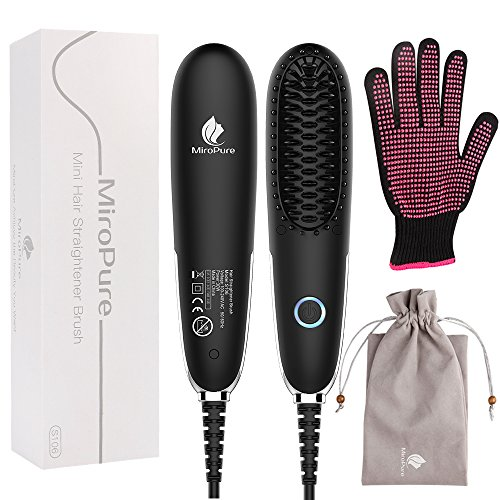 Mini Hair Straightener Brush with Portable Lightweight Adjustable Temperature for Natural Healthy Silky Hair, Hair Straightening Brush Dual Voltage Auto Shut Off with Free Heat Resistant Glove Review