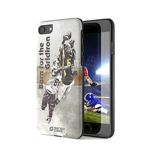 Price comparison product image iPhone 7 Case, Born For American Football with [Tempered Glass Screen Protector]. Sensocase Premium Extreme Sports Thin Phone Cover. Luxury, Stylish Gift, Slim Protective Apple 7 Case