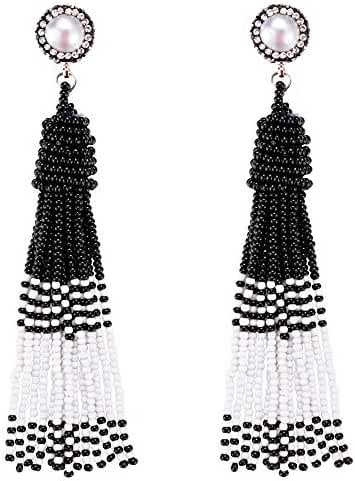 Anni Coco Women's Chic Long Fringe Dangle Pearl Beaded Tassel Earrings