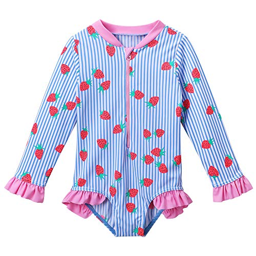 TFJH E Swimsuits for Girls One Piece Long Sleeve Sun Protection 50+ Swimwear with Zip Ruffle 9-10years, Strawberry 152/158