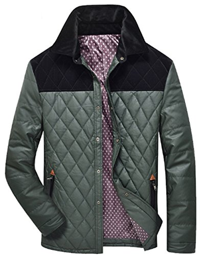Keep Shirt Autumn Cardigan Warm Wild Coat Jacket Middle Jacket Color Winter Casual Fashion Polyester Green Thicken Collar JJZXX Loose Men's Down Aged Insertion zRx5wHqcU6