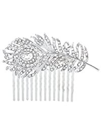 Ever Faith Austrian Crystal Wedding Peacock Feather Hair Comb