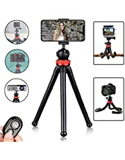 Phone Tripod, Hismo 12 Inch Flexible Cell Phone Tripod Stand Holder with Wireless Bluetooth Remote and Universal Phone Mount Compatible with iPhone/Android/Sports Camera (Black)