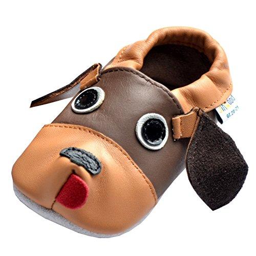 Jinwood designed by amsomo verschiedene Modelle - 3 D Hausschuhe - ECHT LEDER - Lederpuschen - Krabbelschuhe - Mädchen - Jungen - soft sole/mini shoes div. Groeßen 17/19-31/32 dog brown soft sole