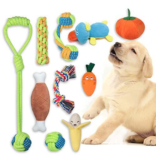 FONPOO Welpenspielzeug eine Kombination aus Fruchtigem Gemüse und Hundeseilspielzeug 10-Teiliges Set Plüsch-Hunde…