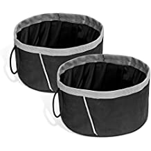 Pawaboo Pet Dog Cat Travel Bowls, [2PACK] 2000 ML Capacity Collapsible Portable Fabric Pet Travel Bowl Feeder for Pet Dog Cat Food or Water, Set of 2, BLACK