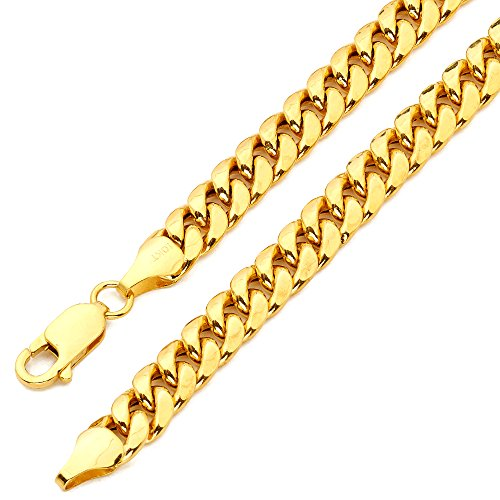 LOVEBLING 10K Yellow Gold 7mm Miami Cuban Link Chain Bracelet Lobster Lock (Available in Lengths 8