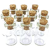 eCrafty EC-4972 10-Pack Mini Glass Bottles Cork Tops Message Weddings Wish Jewelry Party Favors, 1-Inch