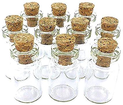 eCrafty ec-4972 Paquete de 10 Unidades Mini Botellas de Cristal de Corcho Tops Mensaje