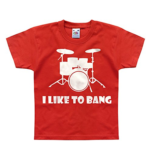 Nutees I Like To Bang Drummer's Drum Set Music Band Unisex Kids T Shirts - Red 3/4 - Apparel Store Fedex