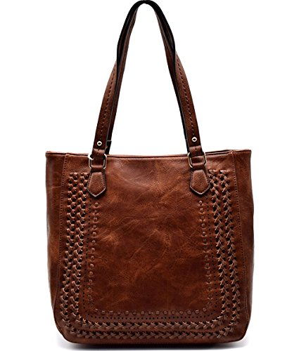 (Madison West Large Zip-Top Shoulder Tote w/Braided Accents- Brown)