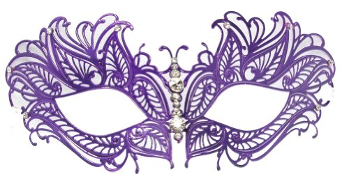 RedSkyTrader Womens Jeweled Laser Cut Masquerade Mask One Size Fits Most Purple (Purple Masquerade Dresses)