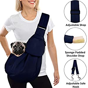 AutoWT Dog Padded Papoose Sling, Small Pet Sling Carrier Hands Free Carry Adjustable Shoulder Strap Reversible Tote Bag with a Pocket Safety Belt Dog Cat Traveling Subway 19